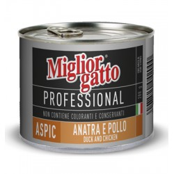 MIGLIORGATTO PROFESSIONAL ASPIC CON ANATRA E POLLO GR. 200