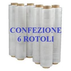 6 ROTOLI PELLICOLA ESTENSIBILE FILM CM. 50X300ML TRASPARENTE