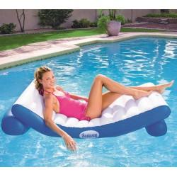 Bestway 43107 Materassino Rialzato Coolerz Luxury galleggiante da piscina e da spiaggia blu e bianca cm. 177 x 94