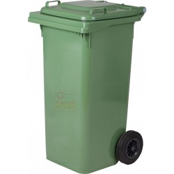 BIN GARBAGE SQUARE WITH WHEELS LT. 240 GREEN