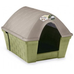 Cuccia per cani in plastica resistente Casa Felice Grande Tortora chiaro cm. 96x78x73h.