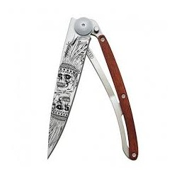 DEEJO WOOD TATOO 37G PADAUK LUCKY SKULL COLTELLO CHIUDIBILE CM. 20,5