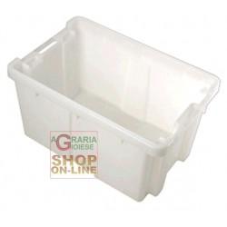 CESTA REGINA CHIUSA IN PLASTICA BIANCA CM. 58X38X31,5 H.