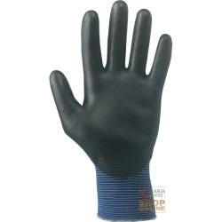 GLOVES, NYLON PALM COATED IN POLYURETHANE COLOUR BLACK / BLUE TG 7 8 9 10