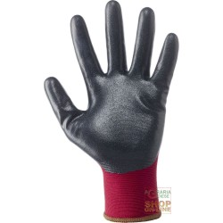 GLOVES NYLON 18 GAUGE COATED NITRILE FOAM BLACK COLOR BORDEAUX TG 8 9 10