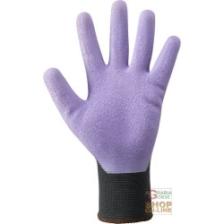 GLOVES NYLON BLACK PALM COATED IN LATEX RUBBER KNURLED PURPLE COLOR TG 8 9 10