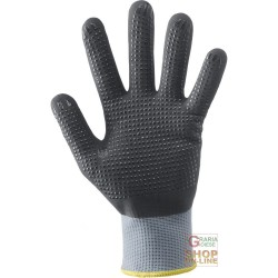GLOVES IN NYLON, FULLY COATED NITRILE FOAM PALM DOTTED GREY COLOUR BLACK